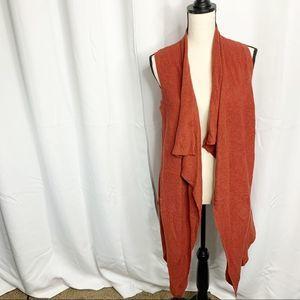 Society 8 M orange rust vest open cardigan